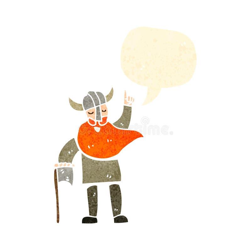 Retro cartoon viking. Retro cartoon with texture. Isolated on White royalty free illustration