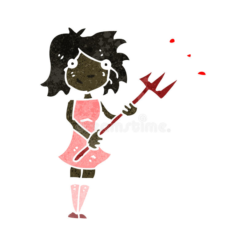 Retro Cartoon Woman With Devil Fork Stock Image