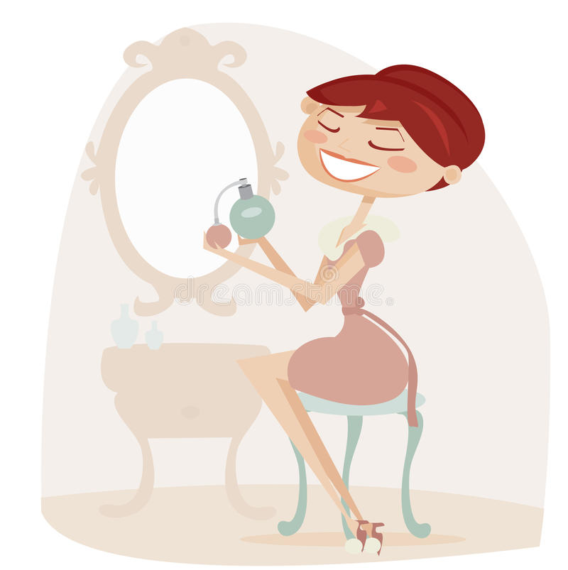 Download Retro Cartoon Woman With Perfume Stock Vector - Image: 18063041