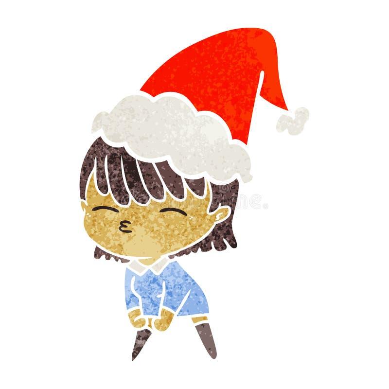 retro cartoon of a woman wearing santa hat vector illustration
