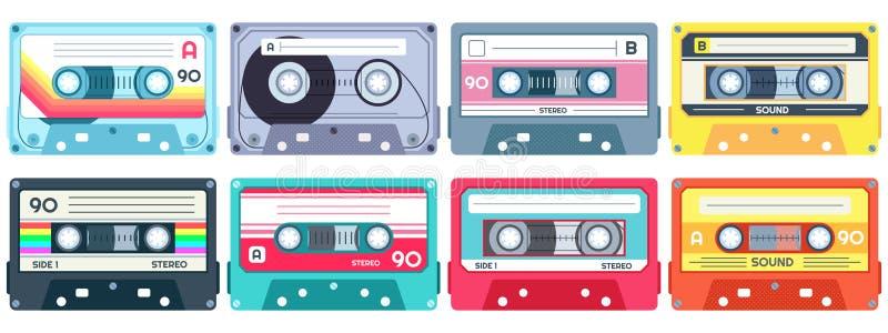 Retro cassetta di musica Nastro stereo del DJ, nastri a cassetta d'annata 90s ed insieme di vettore della cassetta audio illustrazione vettoriale