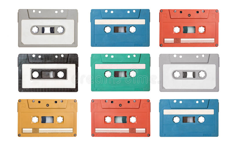Retro cassette tapes royalty free stock photo