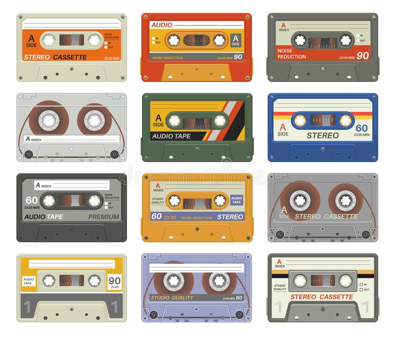 Retro cassettes. Colorful plastic audio cassette vintage media device music technology tapes stereo record images vector illustration