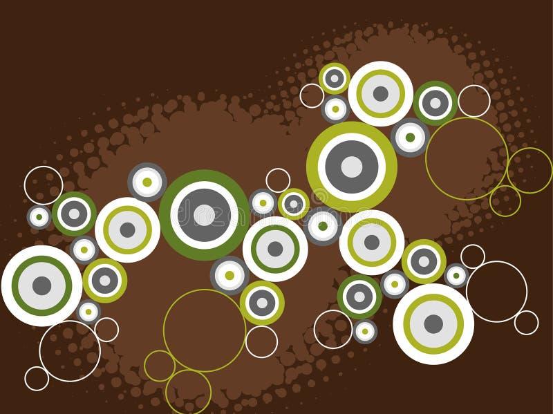 Retro cerchi del grunge su colore marrone illustrazione di stock