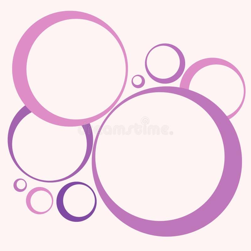 Retro cerchi e colore rosa dei cerchi illustrazione di stock