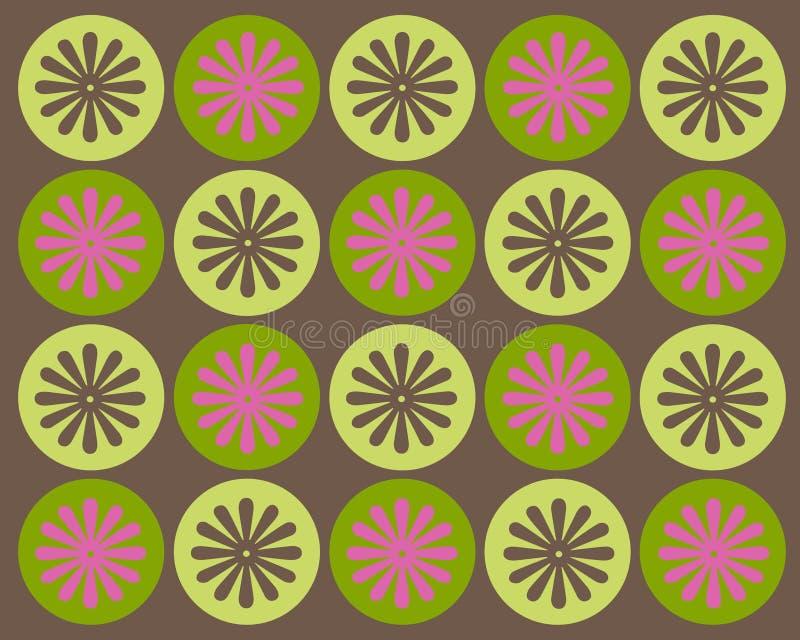Retro cerchi e disegno grafico dei fiori royalty illustrazione gratis