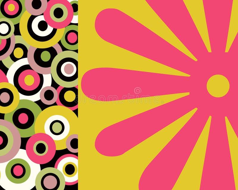 Retro cerchi variopinti e collage floreale illustrazione di stock