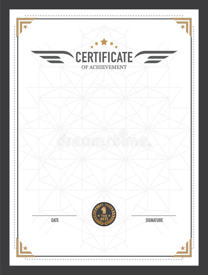 Retro Certificate Design Template Stock Vector Illustration Of