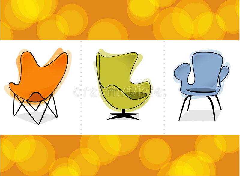 Retro Chair Trio (Vector) Stock Photo