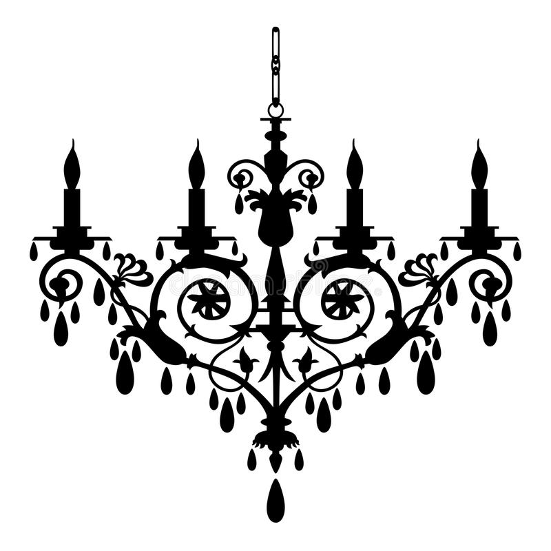 Retro chandelier silhouette. Vector chandelier silhouette, isolated on the white, full scalable graphic included Eps v8 and 300 dpi JPG