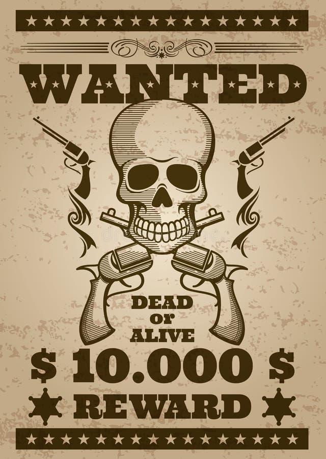 Retro chcieć wektorowy plakat w dziki zachodni tematowym royalty ilustracja