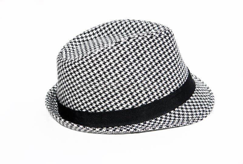 Retro- Checkered Fedora-Hut lizenzfreies stockfoto