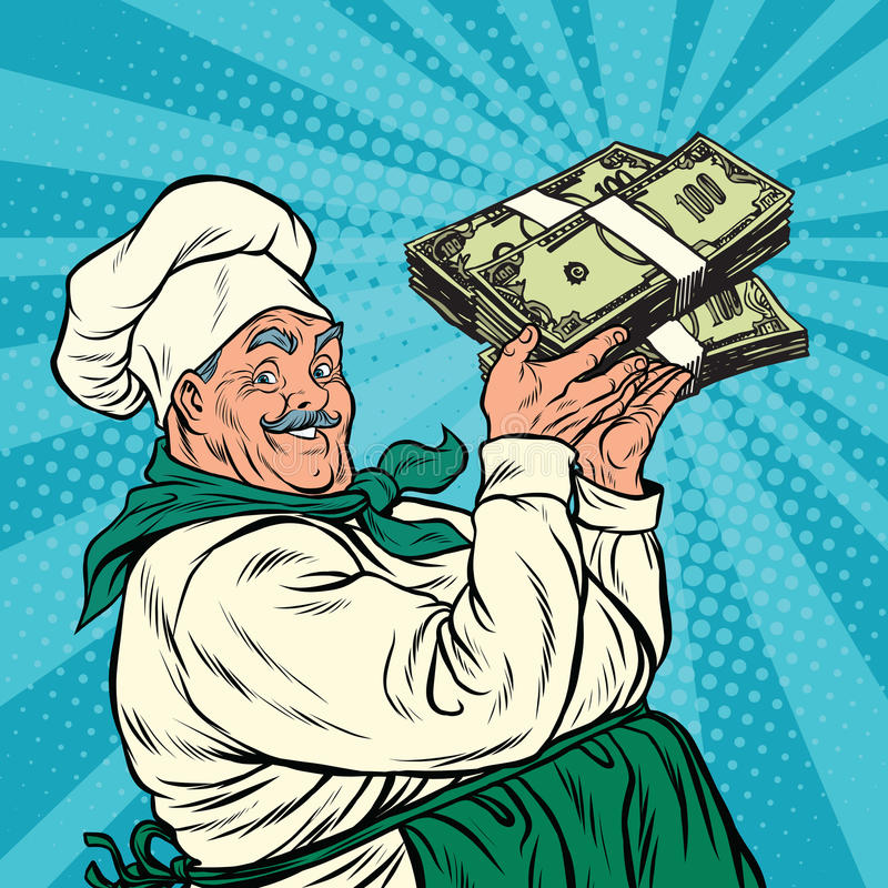 Retro chef with a bundle of money. Pop art retro vector illustration vector illustration