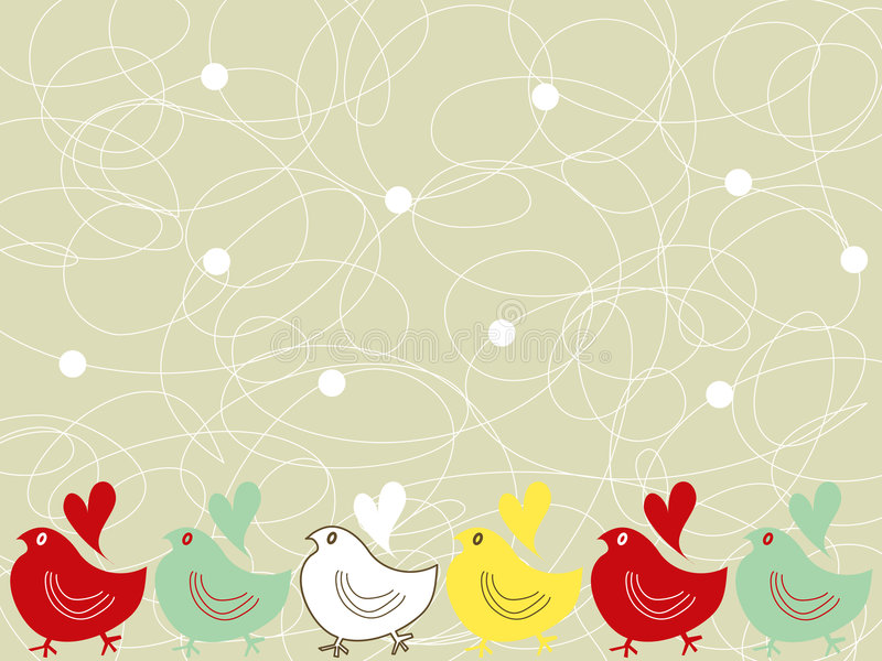 Retro chicks and scribble dots stock illustration