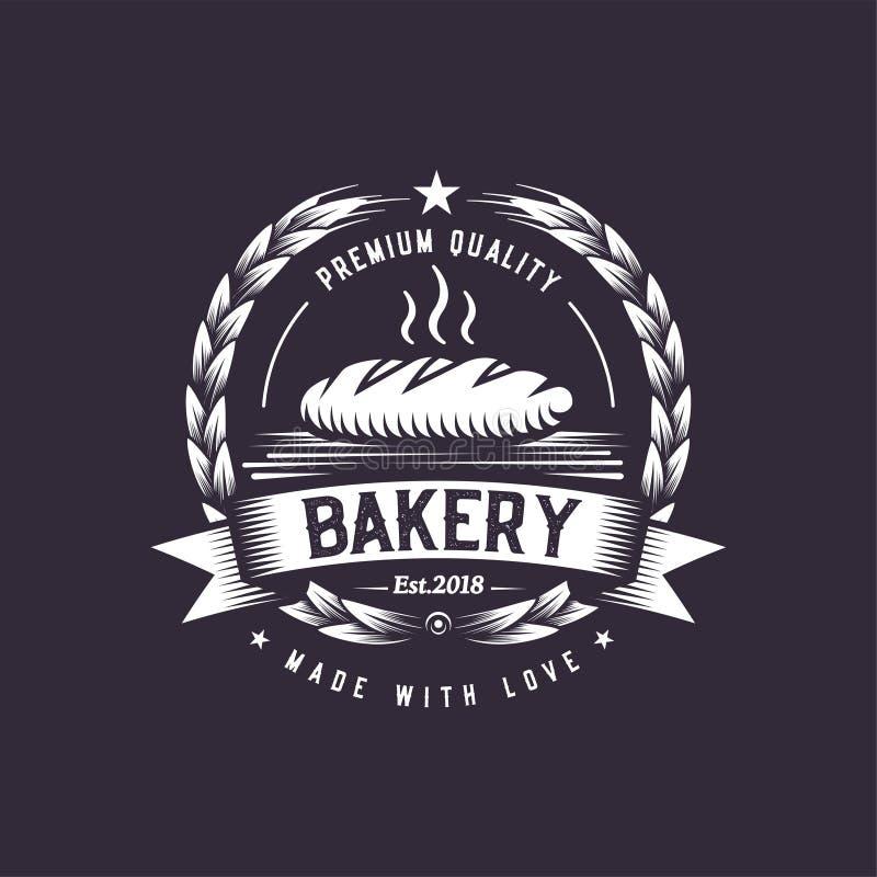 Retro chlebowa ilustracja Fasta food loga projekt Rocznik kulinarna odznaka ilustracji