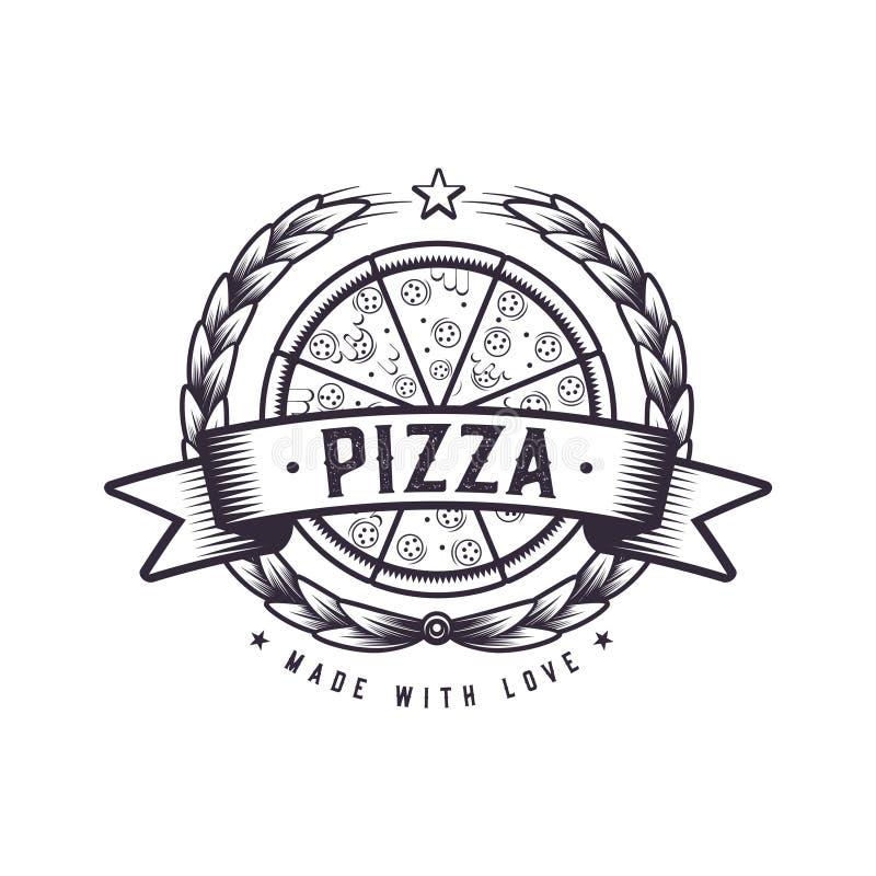 Retro chlebowa pizzy ilustracja Fasta food pizzeria Rocznika loga projekt ilustracji