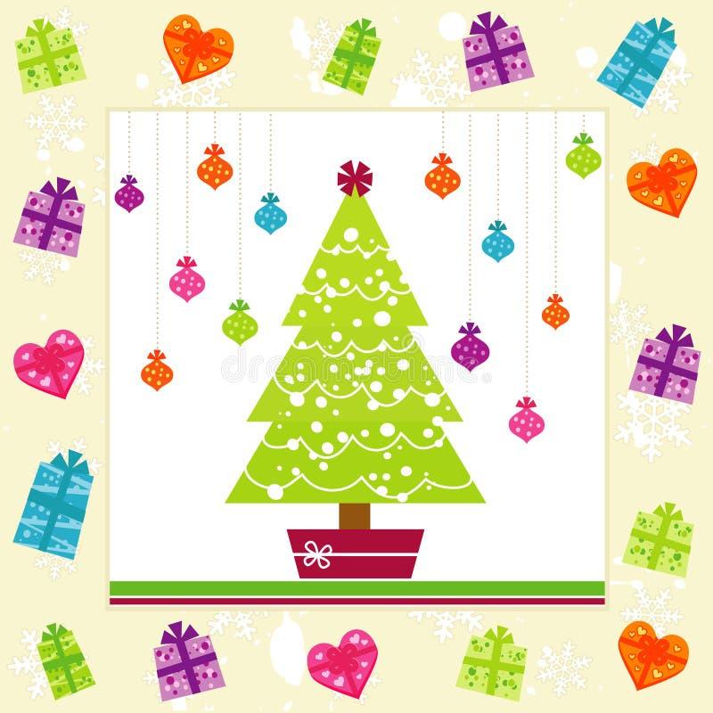 Retro Christmas Card royalty free illustration