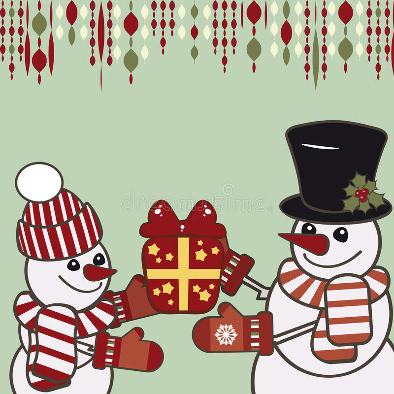 Retro Christmas card with a snowmen. stock images