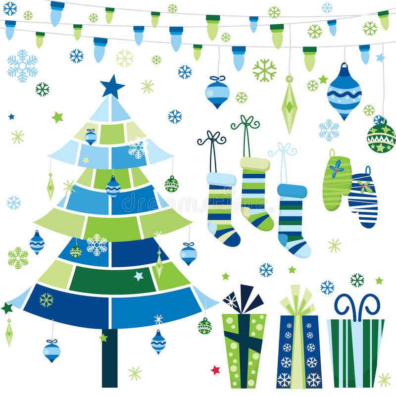 Christmas Tree Decoration Elements: Retro Christmas Design Elements Set Stock Vector
