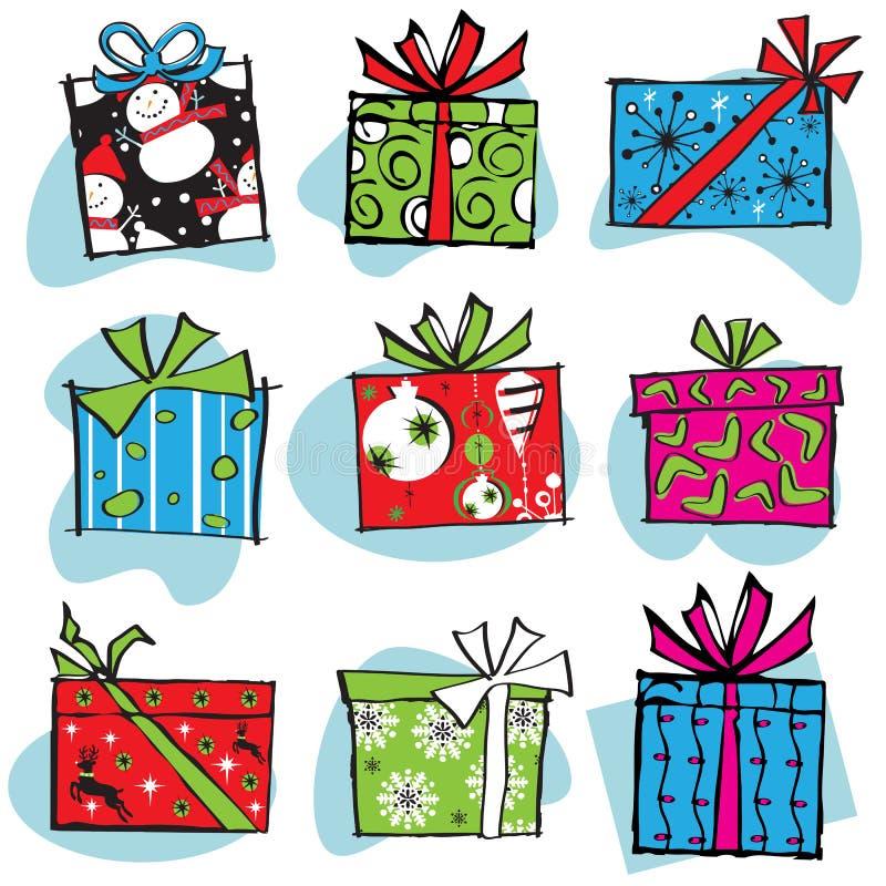 Retro Christmas Gift Boxes Icons royalty free illustration
