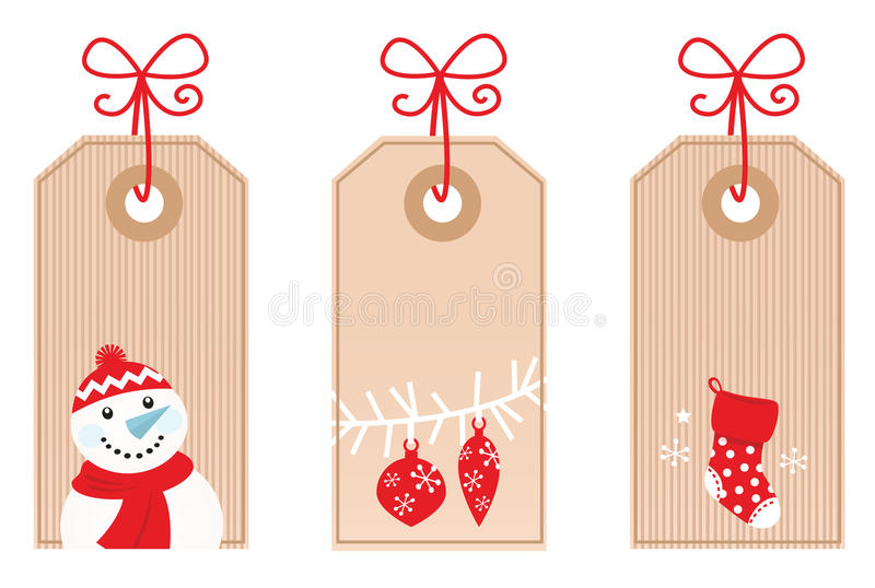 Retro Christmas Gift Tags ( red ) stock illustration