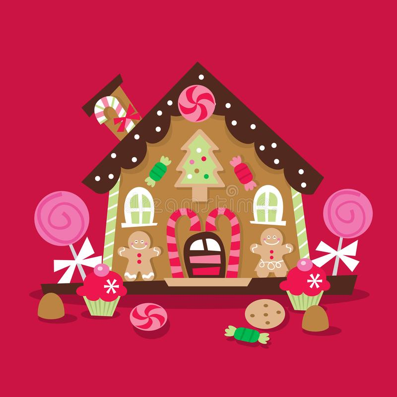 Retro Christmas Gingerbread House. A cartoon vector illustration of a whimsical and retro inspired christmas gingerbread house with lots of candy, lollipop and vector illustration