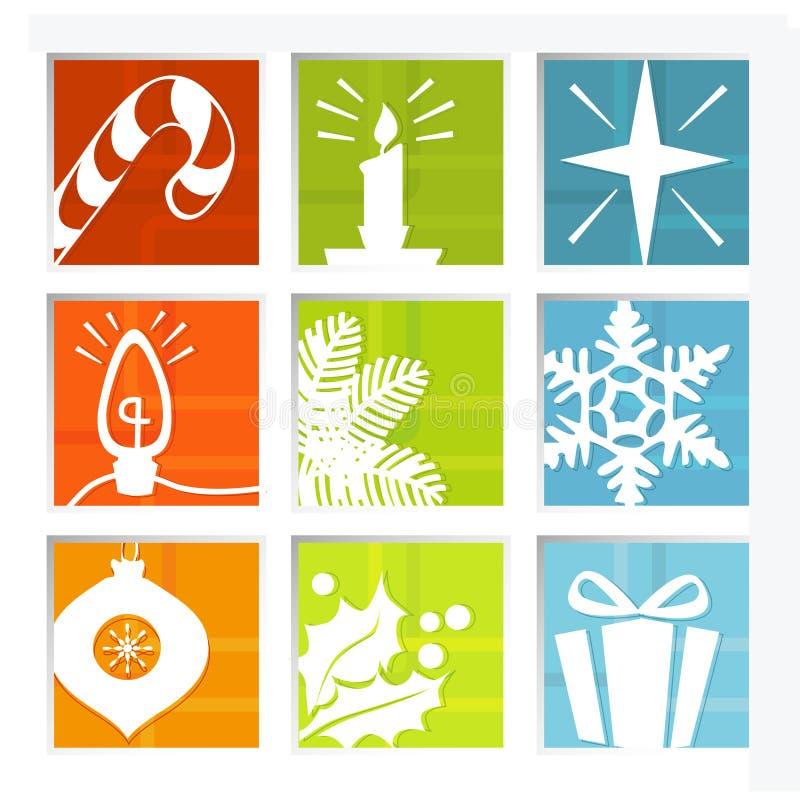 Retro Christmas Icons royalty free illustration