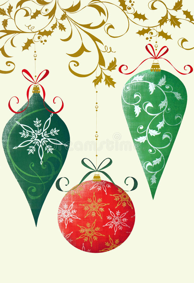 Retro Christmas Ornaments. Retro Christmas illustration on a cream colored background with holly, ribbons, and ornaments vector illustration