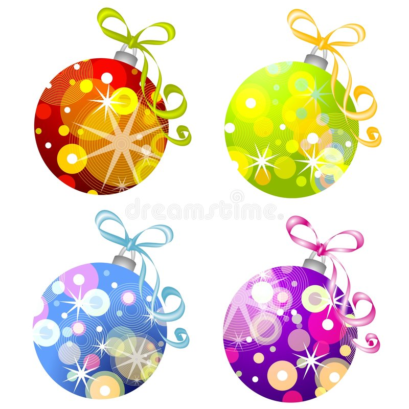 Retro Christmas Ornaments 3. A clip art illustration of retro-look Christmas ornaments in various colors with unique designs isolated on white