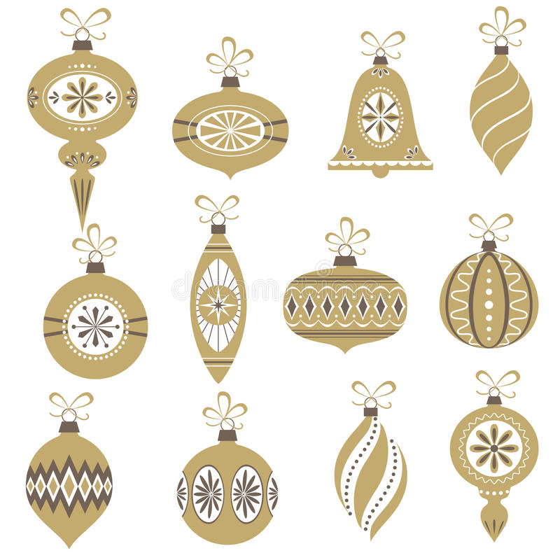 Retro Christmas ornaments. Set of retro Christmas ornaments isolated on white background stock illustration