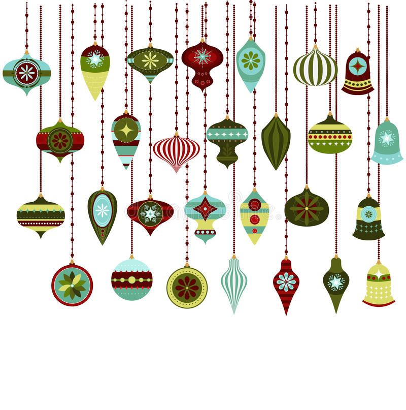 Download Retro Christmas Ornaments Vector Clipart Stock