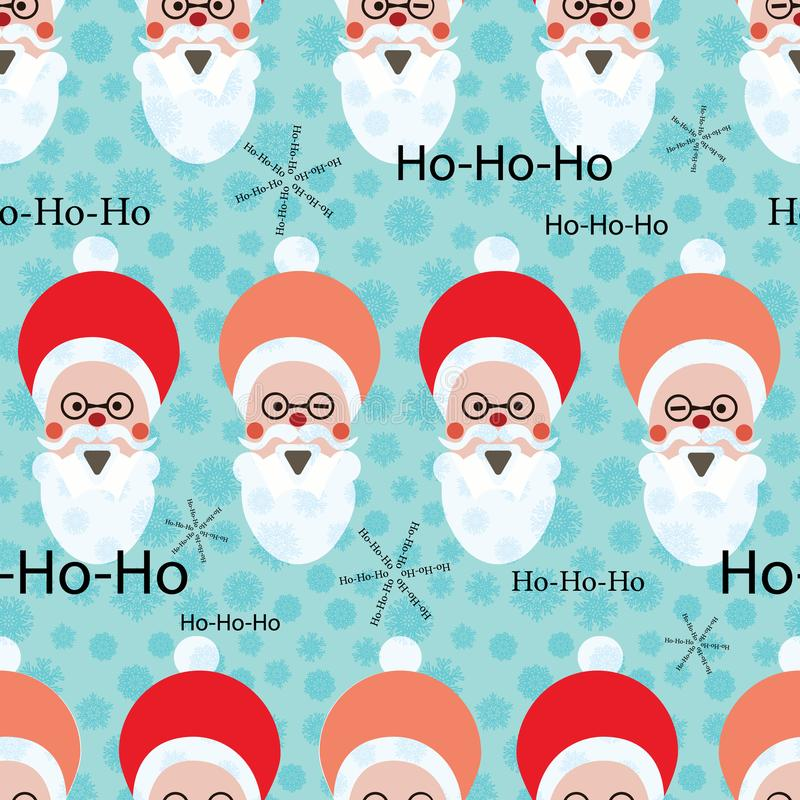 Retro Christmas pattern with Santa Claus heads and text. For wrapping paper, cards, invitations. Seamless vector background. Retro Christmas pattern with Santa vector illustration