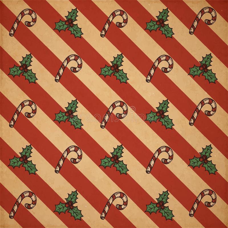 Retro Christmas pattern. Retro vector Christmas scrapbooking pattern on old realictic cardboard parchment royalty free illustration