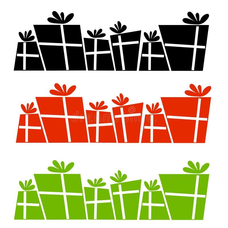 Retro Christmas Presents Silhouettes stock illustration