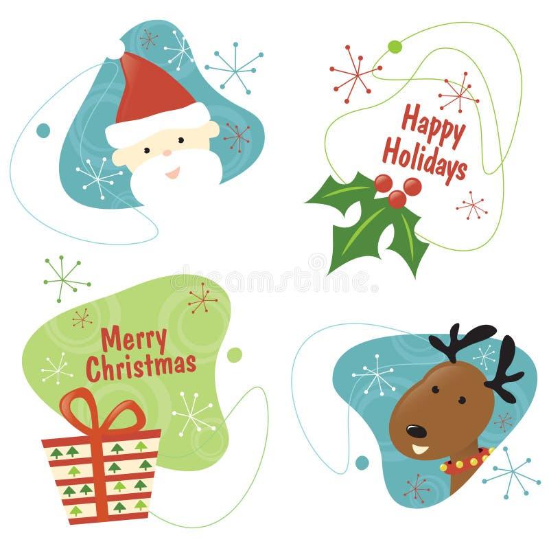 Retro Christmas Set 1. 1950s Christmas items design isolated over white vector illustration