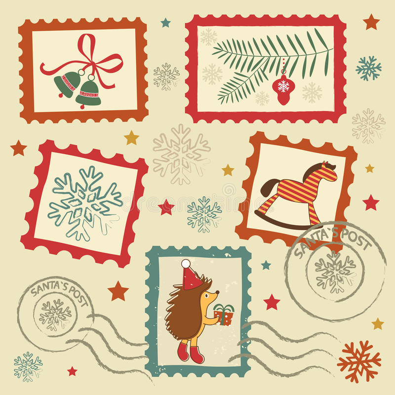 Retro christmas stamps vector illustration