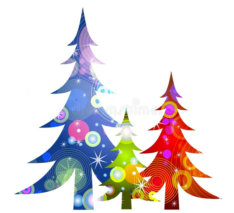 Retro Christmas Trees Clip Art. A clip art illustration of retro-looking Christmas tree in red, green and blue with colorful circular patterns isolated on white