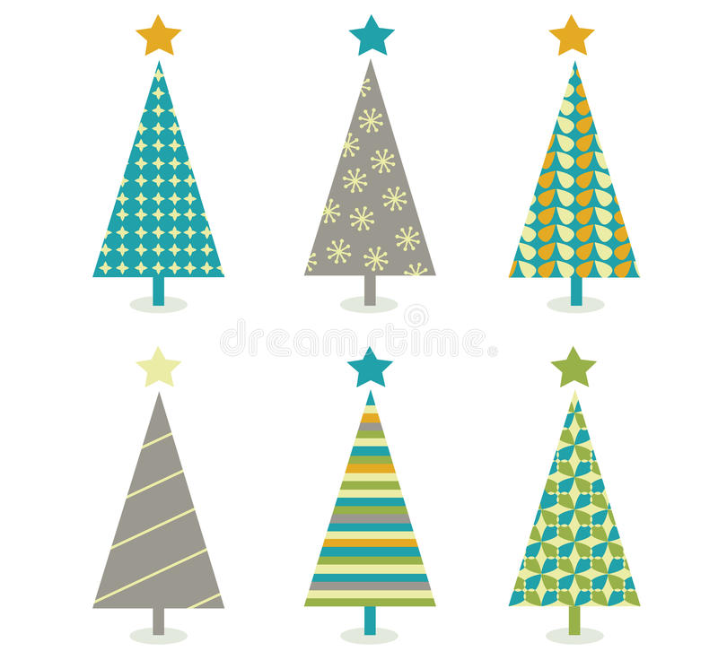 Retro christmas trees icon set stock illustration