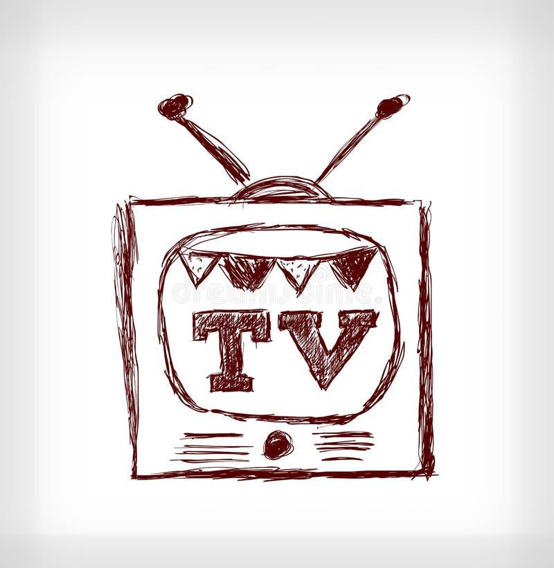 Retro christmas TV. Hand drawn vector illustration on light grey background royalty free illustration