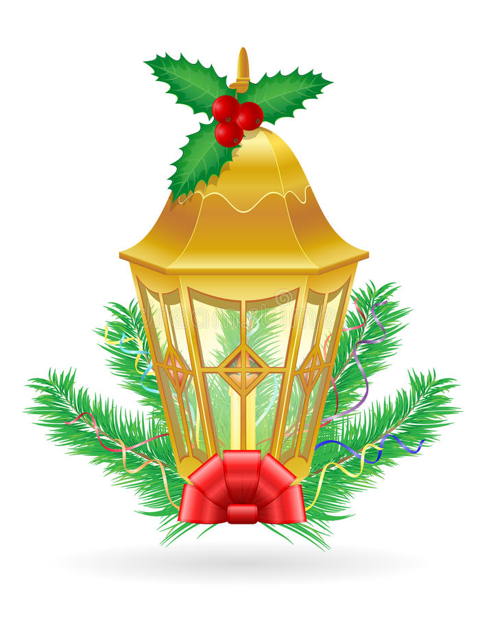 Download Retro Christmas Vintage Street Light Vector Illustration Stock