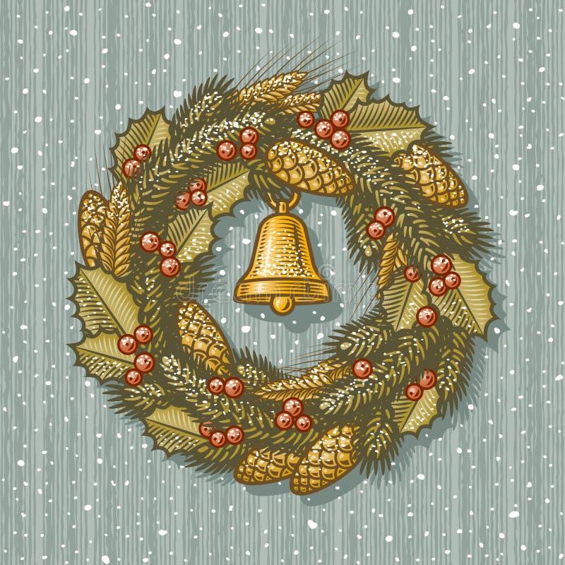 Retro Christmas Wreath Stock Images