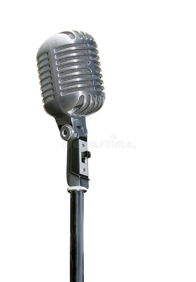 Retro chrome microphone isolated on white. Background stock photos
