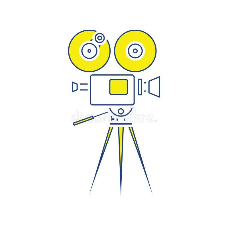 Retro cinema camera icon. Thin line design. Vector illustration royalty free illustration