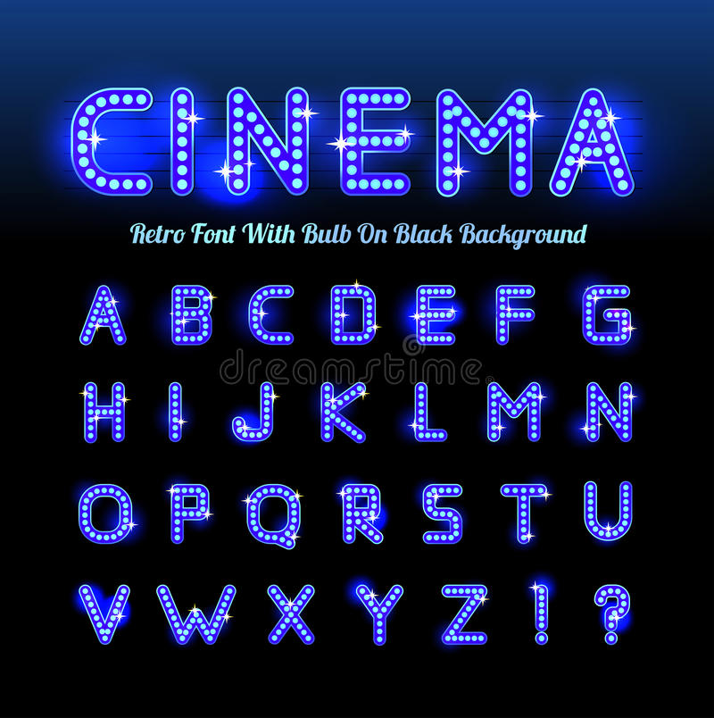 Retro cinema font royalty free illustration