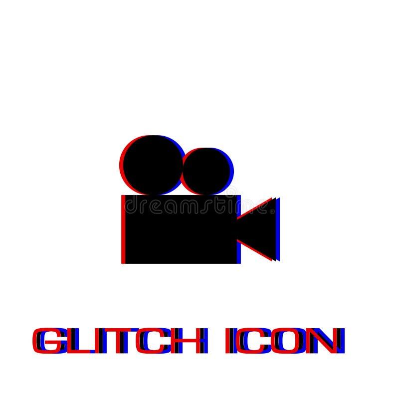 Retro cinema icon flat. Simple pictogram - Glitch effect. Vector illustration symbol royalty free illustration