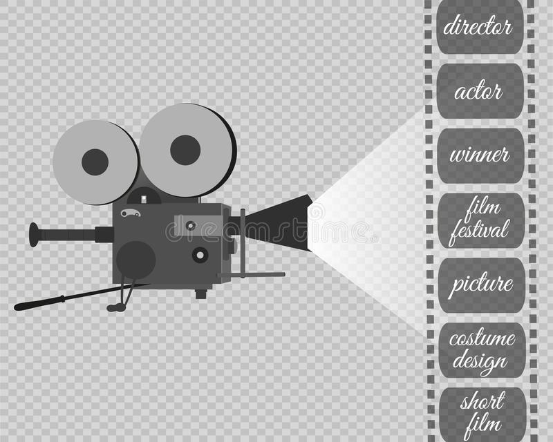 Retro cinema icon with text place, vector illustration stock illustration