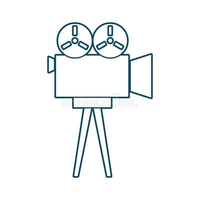 Retro cinema icon. In thin line style royalty free illustration