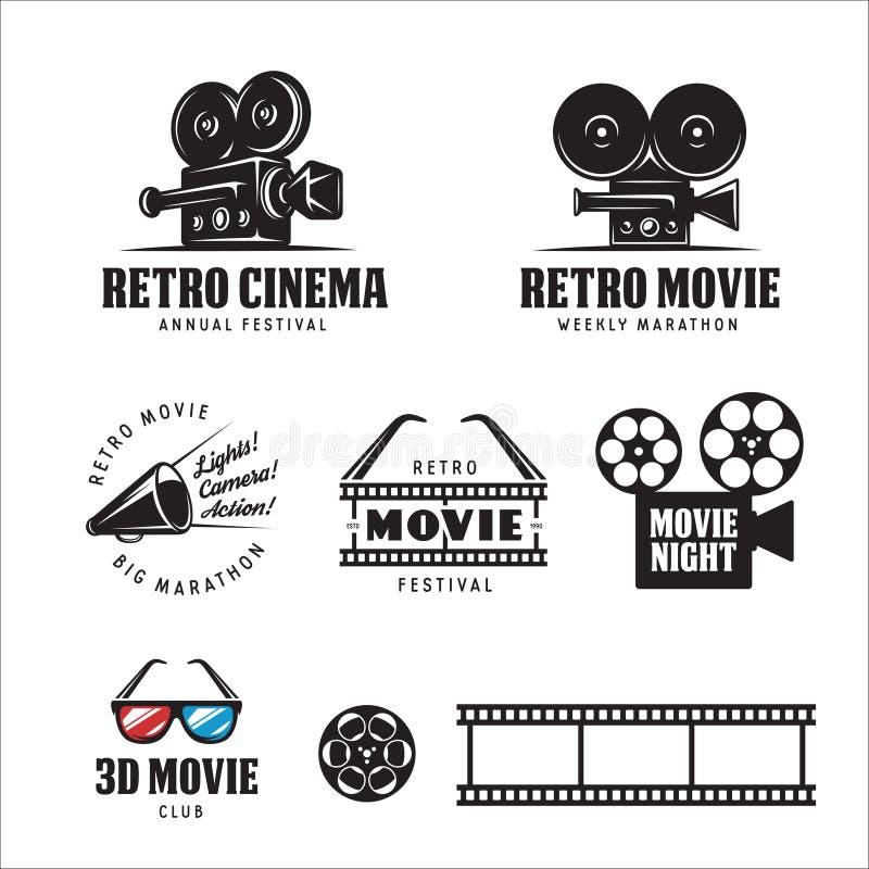 Retro cinema labels set. Vector vintage illustration. Retro cinema labels badges emblems and design elements set. 3d movie sign. Vector vintage illustration stock illustration