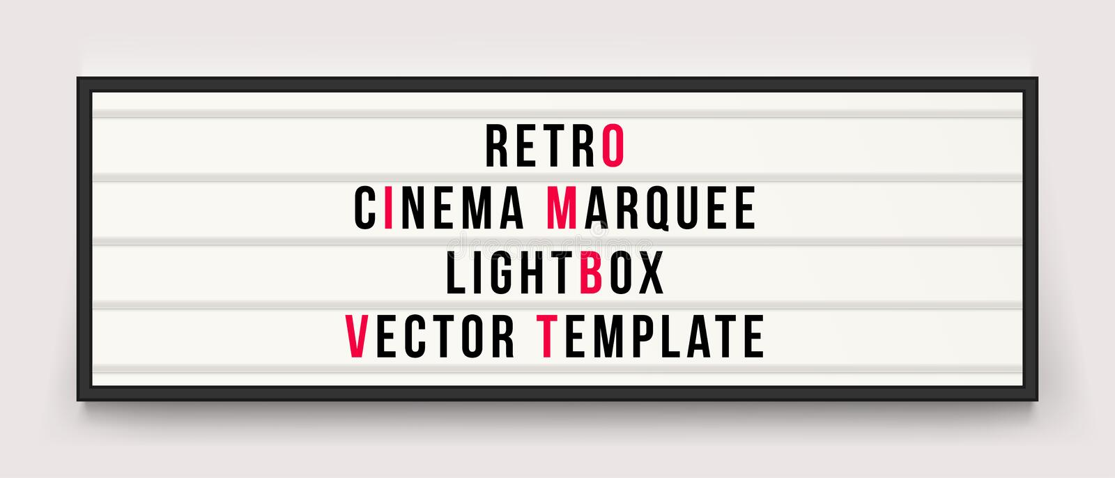 Retro cinema marquee lightbox vector template. Retro cinema marquee or movie signage lightbox in frame vector template stock illustration