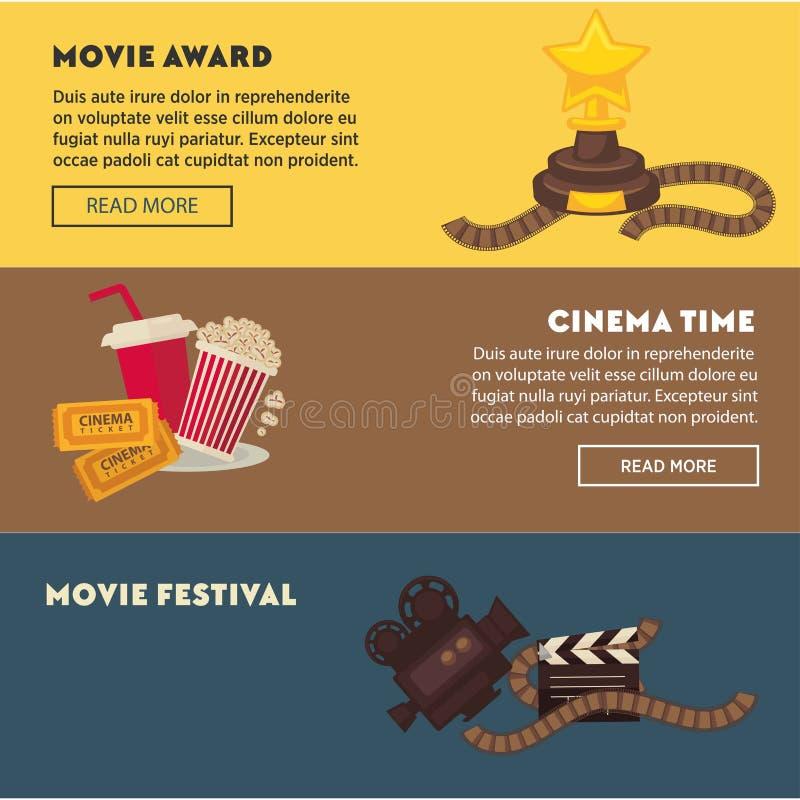 Retro cinema and movie premiere festival web banners stock illustration